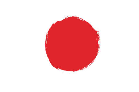 Japan Flag Vector Hand Painted with Rounded Brush