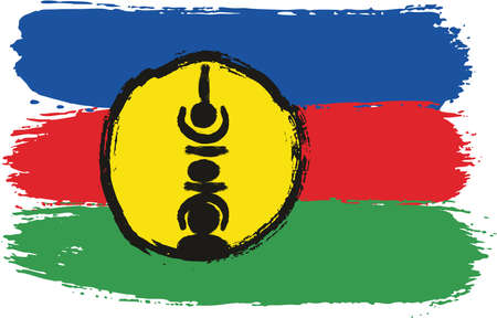 New Caledonia Flag Vector Hand Painted with Rounded Brush. Illustration