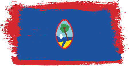 Guam Flag Vector Hand Painted with Rounded Brush