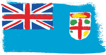 Fiji Flag Vector Hand Painted with Rounded Brush