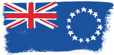 Cook Islands Flag Vector Hand Painted with Rounded Brush Illustration