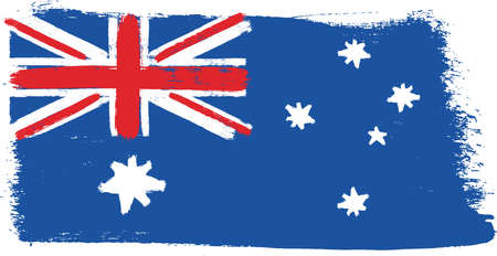 Australia Flag Vector Hand Painted with Rounded Brush