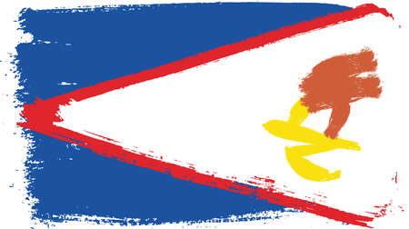 American Samoa Flag Vector Hand Painted with Rounded Brush