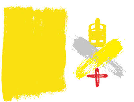 Vatican City Flag Vector Hand Painted with Rounded Brush Illustration