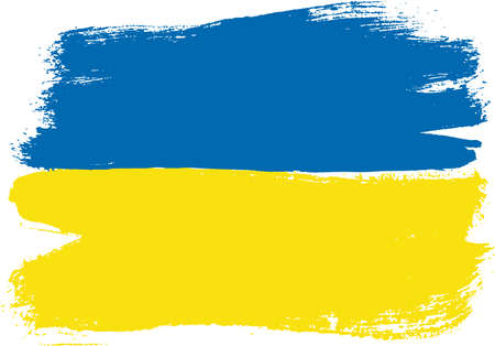 Ukraine Flag Vector Hand Painted with Rounded Brush Illustration
