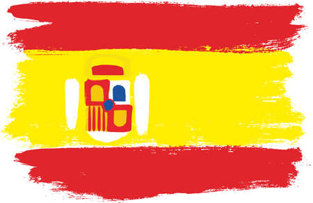 Spain Flag Vector Hand Painted with Rounded Brush