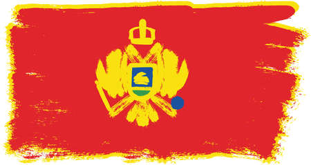 Montenegro Flag Vector Hand Painted with Rounded Brush