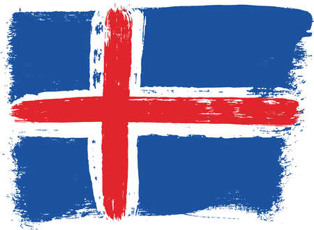 Iceland Flag Vector Hand Painted with Rounded Brush
