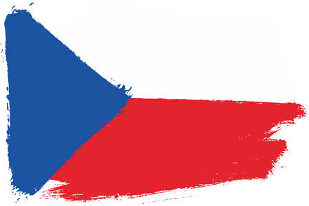 Czech Republic Flag Vector Hand Painted with Rounded Brush