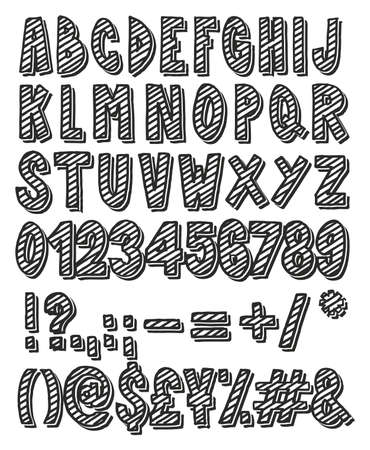 three dots: Thick Doodle Handwritten Outline & Stripe Fill with Drop Shadow Alphabet, Numbers & Signs with Marker Pen Illustration