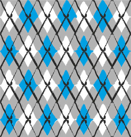 Blue Rhombus Seamless Abstract Vector Pattern or Seamless Abstract Vector Background Hand Painted with Rounded Brush