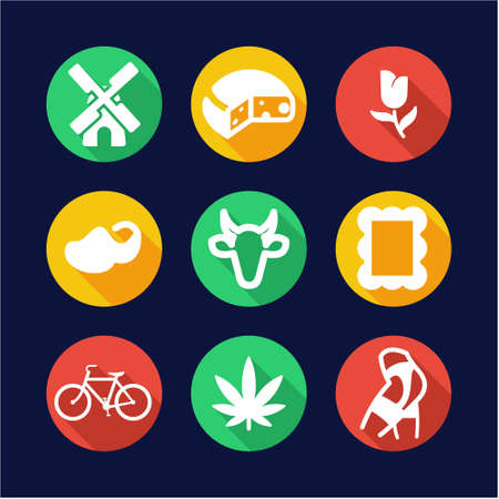 Dutch Culture Icons Flat Design Circle