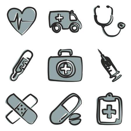 Ambulance Icons Freehand 2 Color Illustration