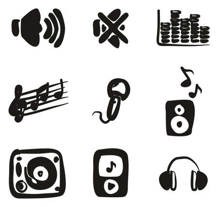 loud speaker: Audio Icons Freehand Fill Illustration