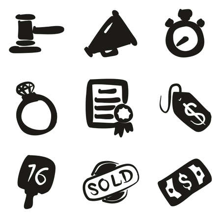 bidding: Auction Icons Freehand Fill Illustration