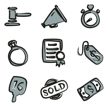 bidding: Auction Icons Freehand 2 Color Illustration