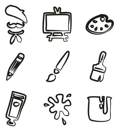 Artist Icons Freehand Illustration