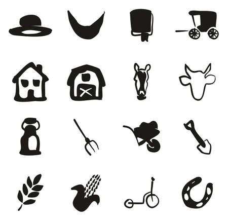 Amish Icons Freehand Fill Vektorové ilustrace