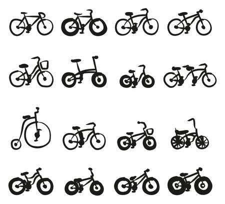 Bicycle Icons Freehand Fill