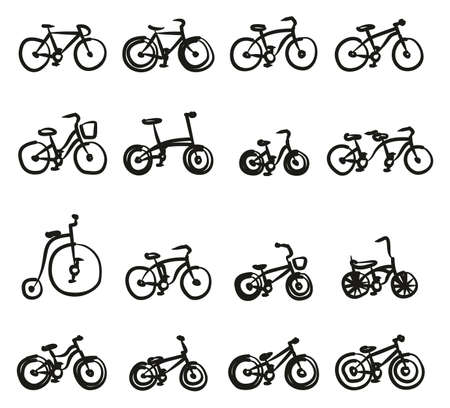 Bicycle Icons Freehand Illustration