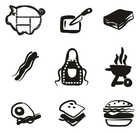 cookout: Bacon Icons Freehand Fill
