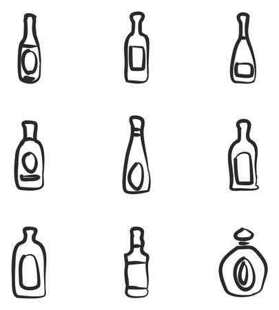 Fles pictogrammen uit de vrije hand
