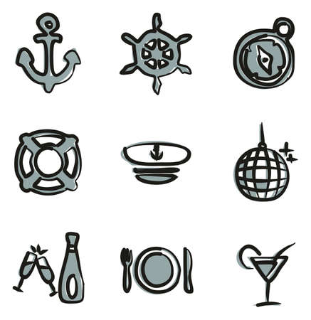dinner party: Boat Cruise Icons Freehand 2 Color