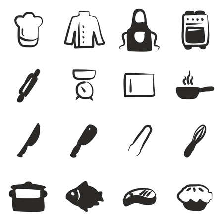 meat chopper: Chef Icons Freehand Fill Illustration