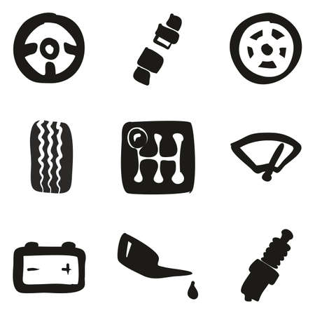 Car Icons Freehand Fill