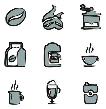 Coffee Icons Freehand 2 Color