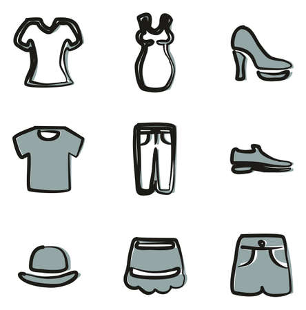 Clothing Icons Freehand 2 Color