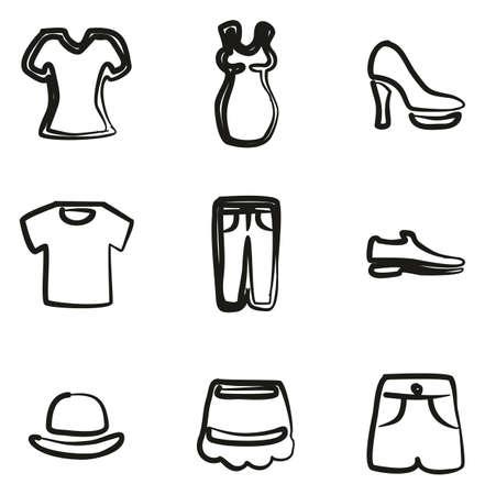 Clothing Icons Freehand Illusztráció