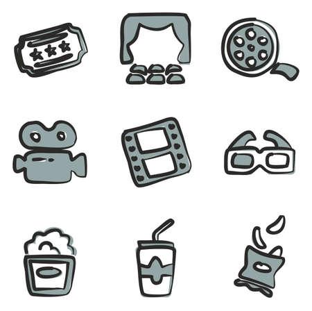 Bioscoop Icons Freehand 2 Kleur Stock Illustratie