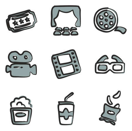Cinema Icons Freehand 2 Color Illustration