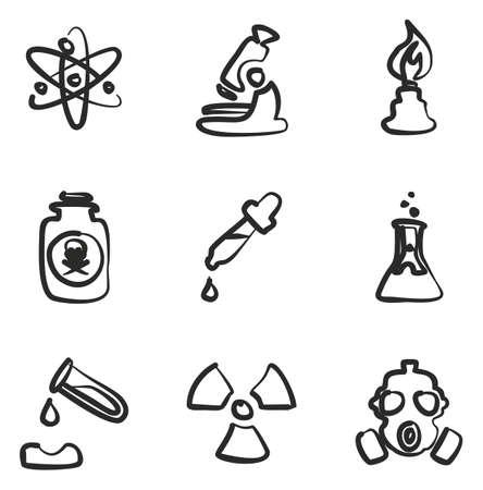 Chemistry Icons Freehand Illustration