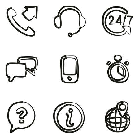 drawing pin: Customer Service Icons Freehand