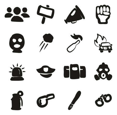 Demonstration Or Protest Icons Freehand Fill