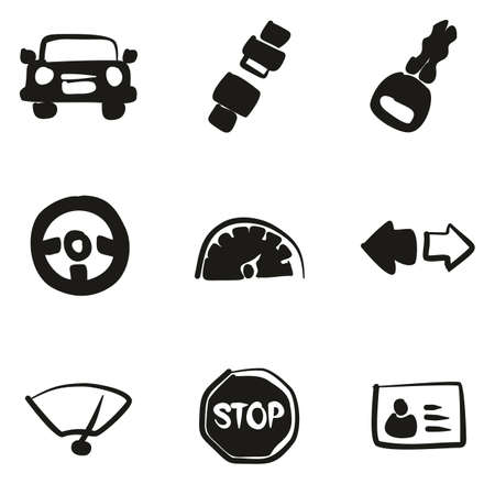 Iconos de la escuela de conducción Freehand Fill Foto de archivo - 83598168