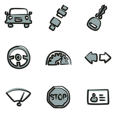 Driving School Icons Freehand 2 Color