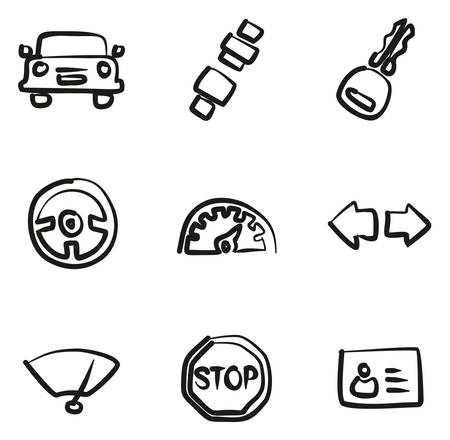 Driving School Icons Freehand