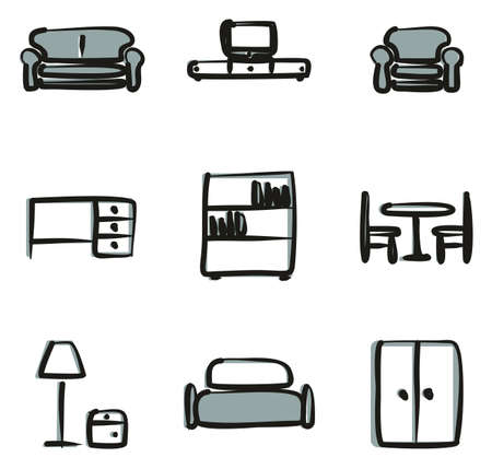 reclining: Furniture Icons Freehand 2 Color