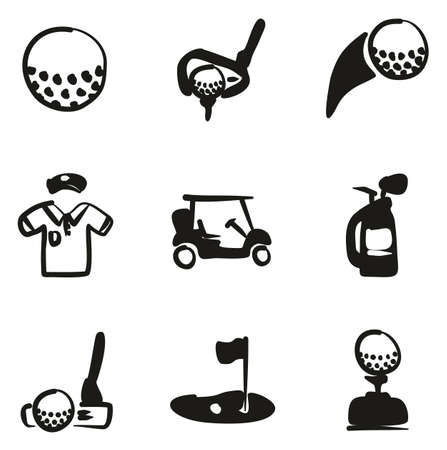hole: Golf Icons Freehand Fill Illustration