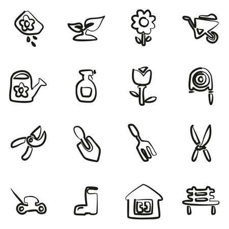 Gartenarbeit Icons Freehand Vektorgrafik