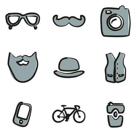 Hipster Icons Freehand 2 Color Illustration