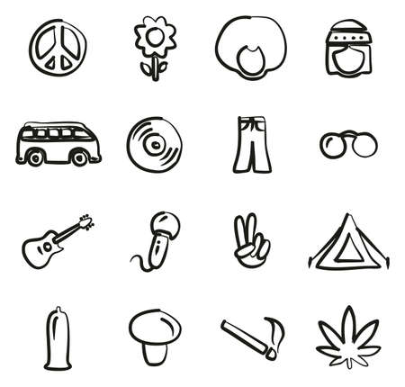 vw: Hippie Icons Freehand Illustration