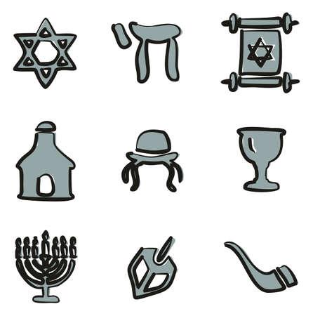 Judaism Icons Freehand 2 Color Ilustração
