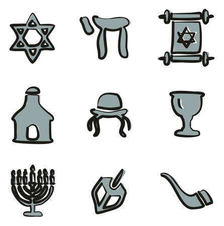 Judaism Icons Freehand 2 Color Illustration