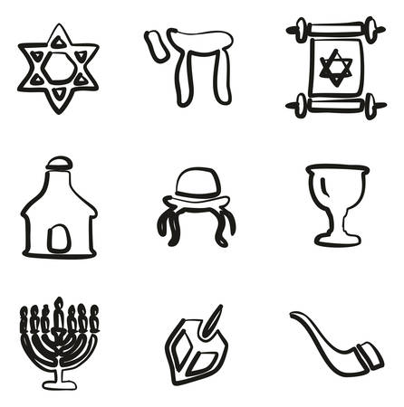 Judaism Icons Freehand