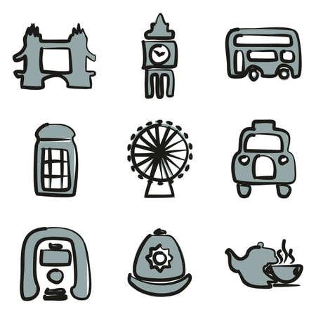 british culture: Set of London icons.