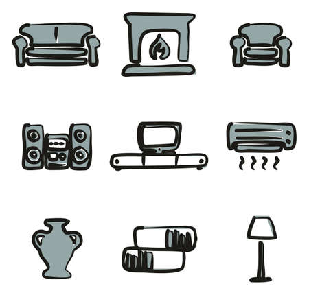 Set of living room icons. Stock Vector - 85631959